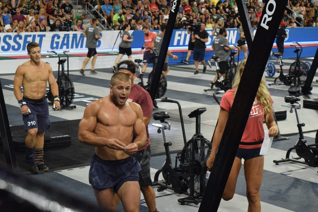 Jacob Heppner of the United States on the floor of the coliseum at the 2019 CrossFit Games