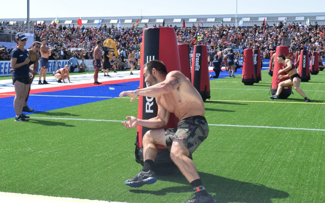 Rich Froning takes a corner during the 2019 CrossFit Games Sprint event.
