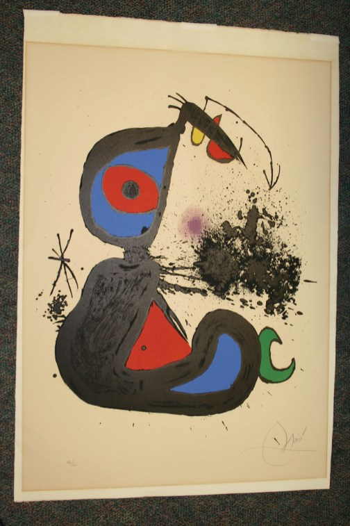 Fine art print by Modern artist Joan Miro before cleaning.