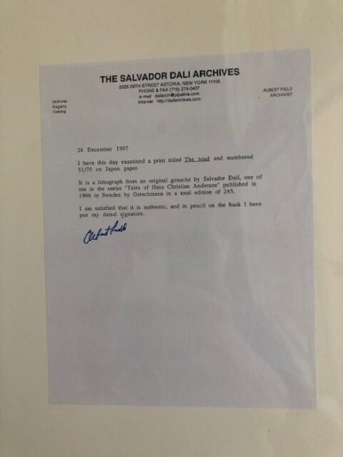 Dali - The Toad: letter from Salvador Dali Archives
