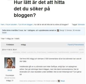 """Exempel på ett inlägg i ämnet """"Hur lätt är det att hitta det du sker på bloggen?""""."""