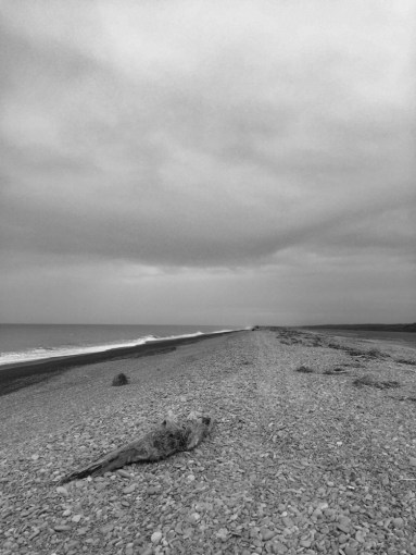 Moody grey beach at Southbridge