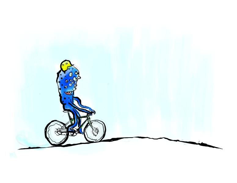 a monster riding a bike