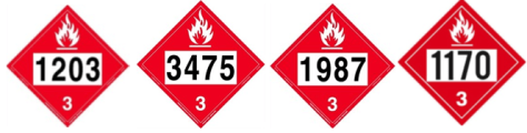 Placards 1203, 3475, 1987, 1170 - Ethanol
