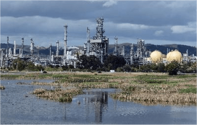 The Shell Refinery is seen in Martinez, Calif. on Monday, May 6, 2013. The Bay Area's five refineries have moved toward acquiring controversial Canadian tar sands crude through rail delivery. (Kristopher Skinner/Bay Area News Group)