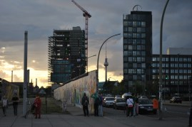 The wall and Fernsehturm at Eastside Gallery