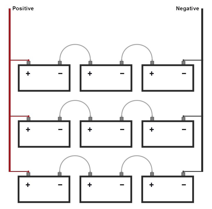 9 Batteries in Series Parallel Connection - Wiring Diagram