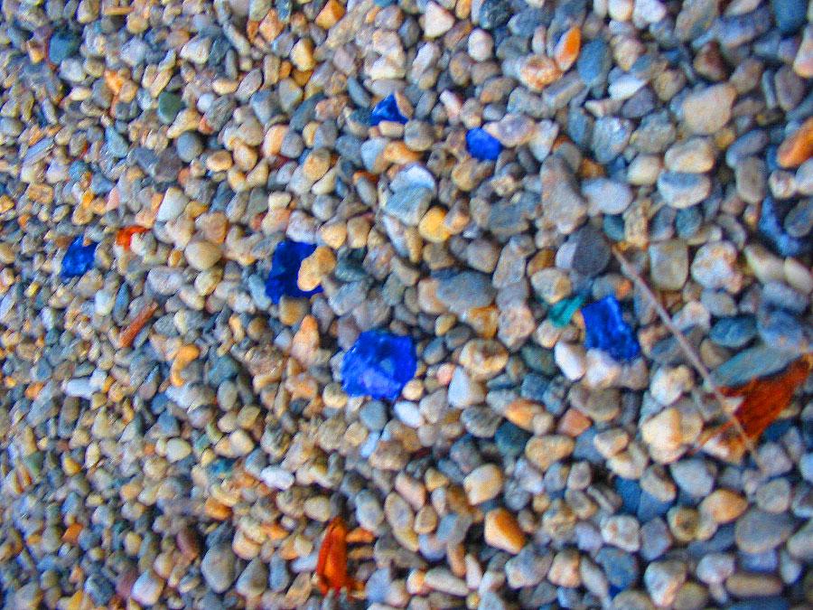 Pretty blue shards of dangerous glass