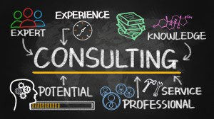 consulting concept chart with business elements on blackboard