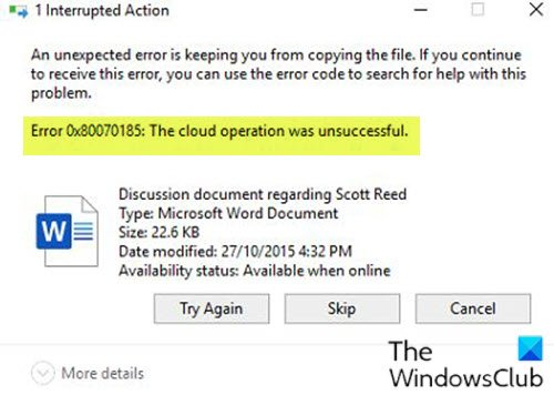 OneDrive Error 0x80070185, The cloud operation was unsuccessful