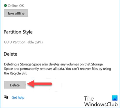Delete a Storage Space from Storage Pool via Settings app