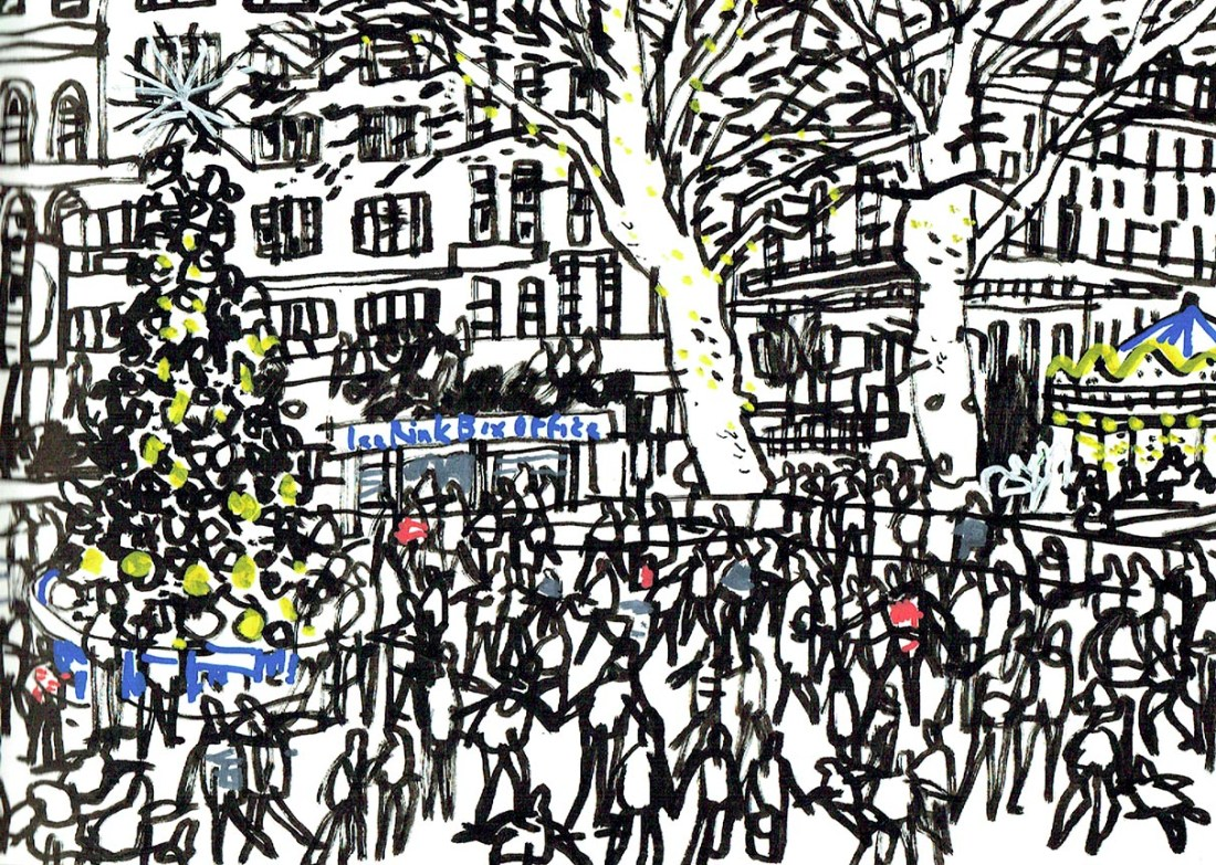 Natural History Museum ice rink, London, drawn by James Hobbs, December 2019