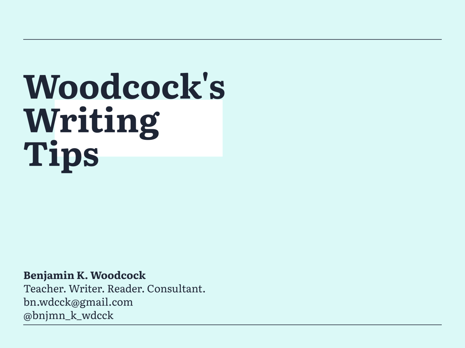 Woodcock's Writing Tips – Proper Nouns