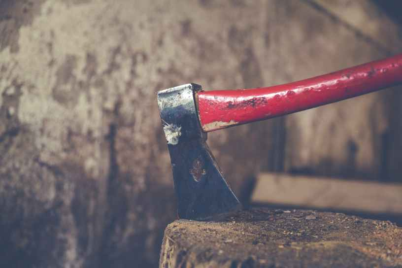 red and black metal tool