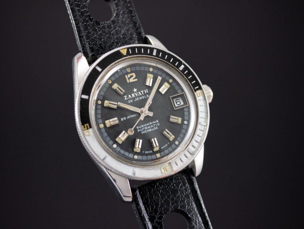 Zarvath 25 jewels Automatic Vintage Diver Bakelite Bezel Tritium Dial Tropic Strap