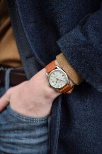 Vintage Rolex Datejust 1601 linen dial no lume 1970