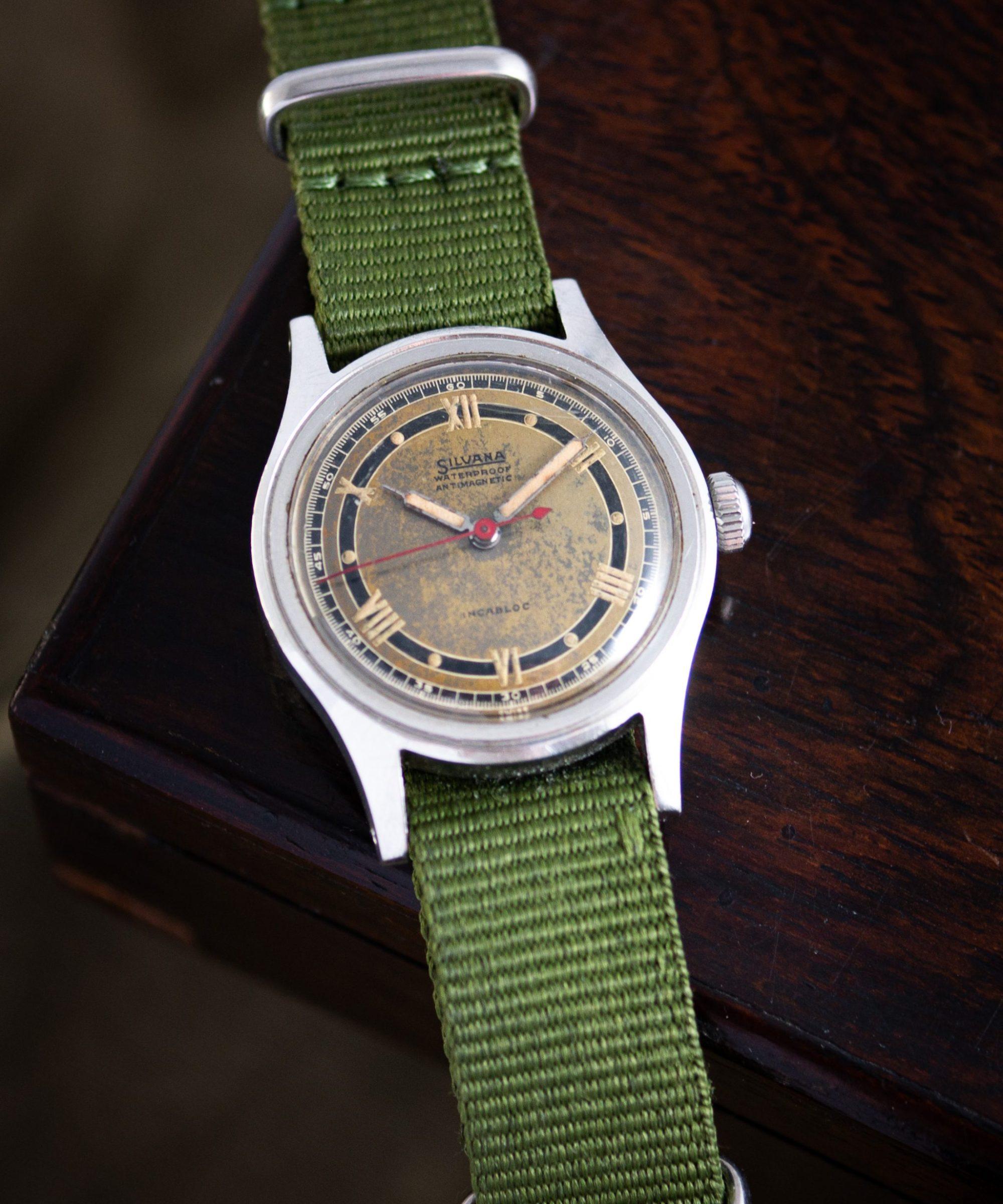 Vintage Silvana waterproof radium sector dial