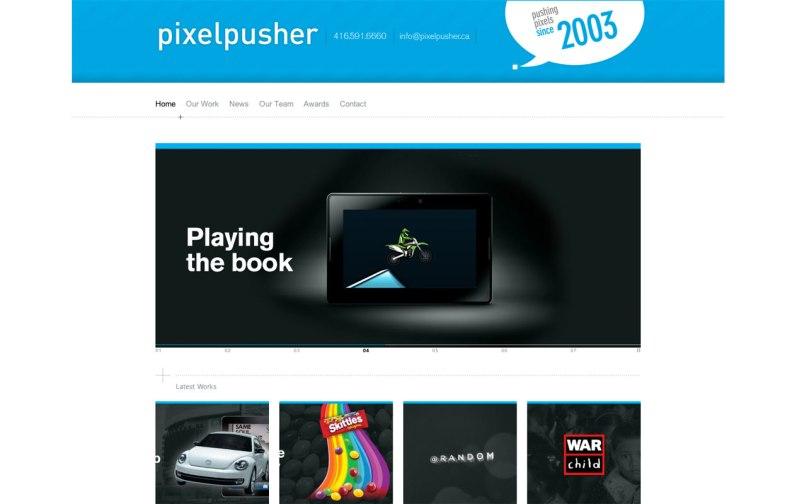 Screenshot of the Homepage for Pixelpusher custom wordpress template