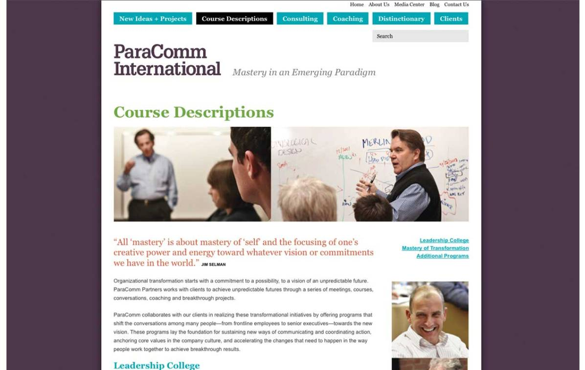 Screenshot of Paracomm Wordpress CMS default page template