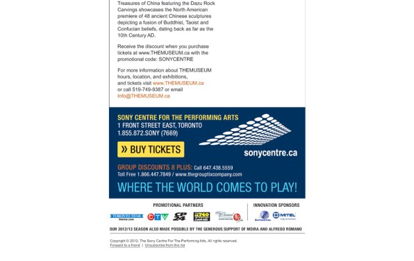 Screenshot showing the bottom section of the Sony Centre custom HTML Email Newsletter
