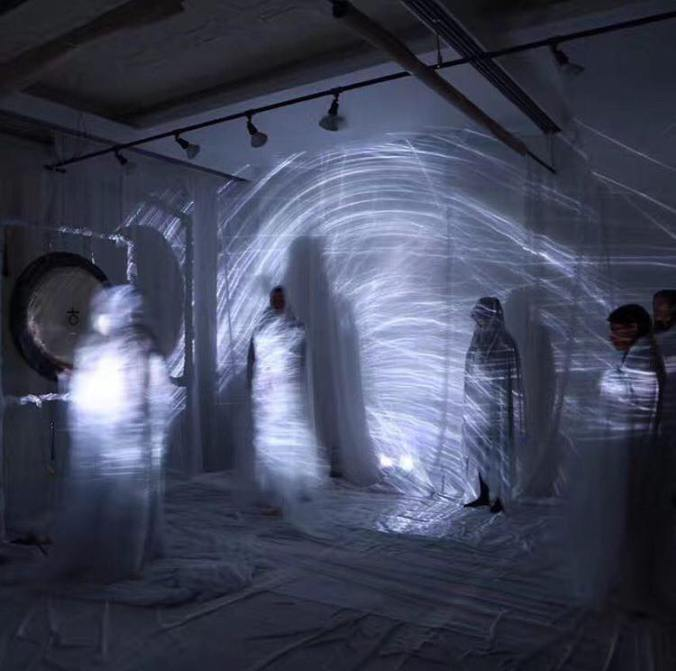 Benjamin Savage Gong Meditations Performance Art Projection Mapped Particles