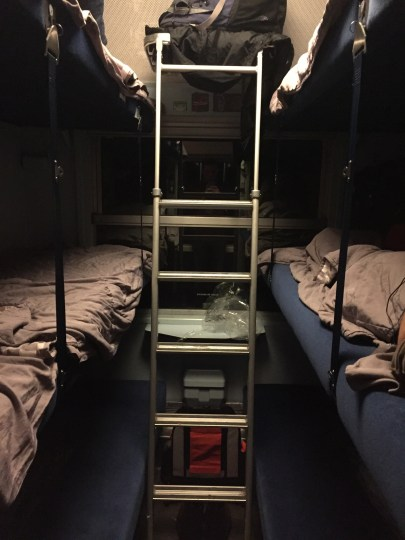 On our way to Nice, France! We took a sleeper train to get there. This was the inside of our car. It had 6 bunk beds. Not the best sleep in the world, but definitely better than sleeping in a chair on the train.