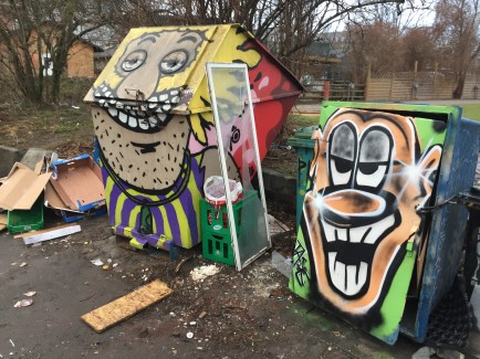 Everything was covered in graffiti. Even the dumpsters.