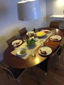 We made dinner in our AirBnb. Pasta, chicken, salad and wine.