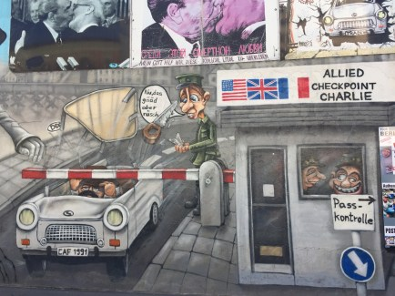 Graffiti art depicting Checkpoint Charlie.