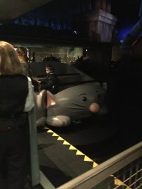 A brief look inside the Ratatouille ride. This is what the cars looked like. We rode in a rat!