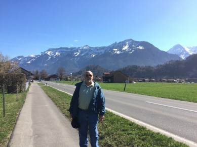 We decided to walk to the lake near Interlake. Of course, we had to stop and take some pictures with the Swiss Alps behind us.