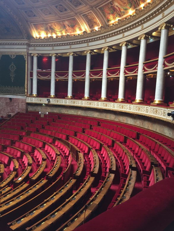 The huge auditorium where the Assemblée Nationale meets.