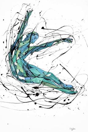 La Bailarina Calva (Esmalte al agua y acuarela sobre crea. 100 cm x 60 cm)