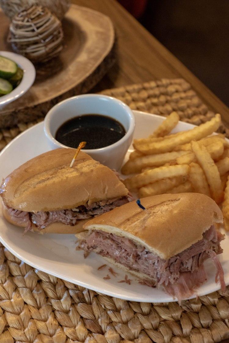 Beef brisket beef dip sandwich at Benjies deli.