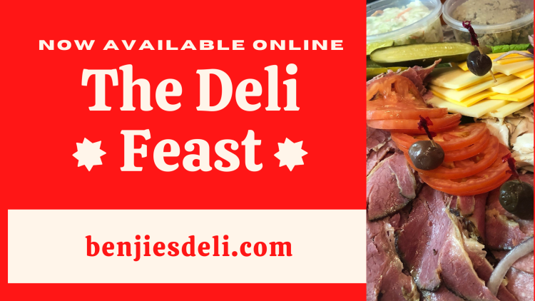 The Deli Feast promotional image with stacks of meats and chesses from Benjies NY Deli