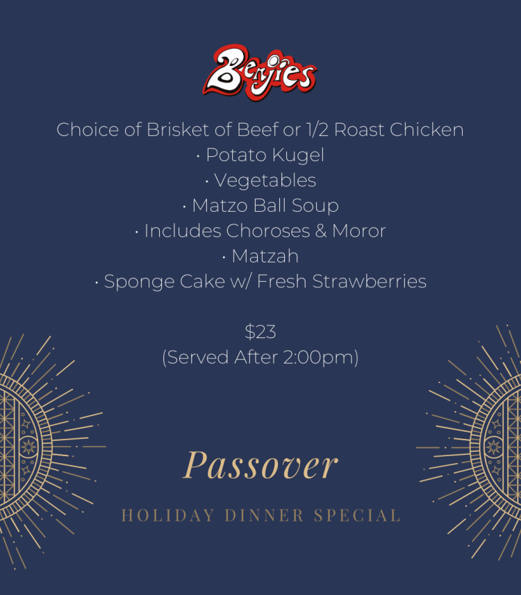 Passover Holiday dinner special promotion card