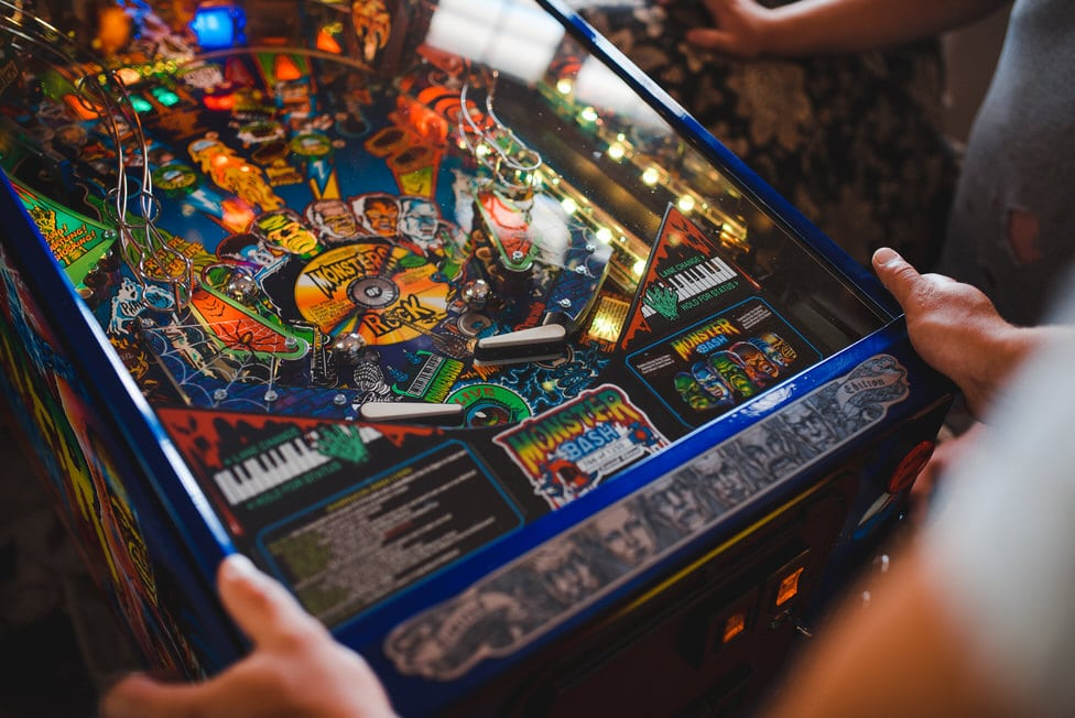 closeup of frankenstein pinball machine