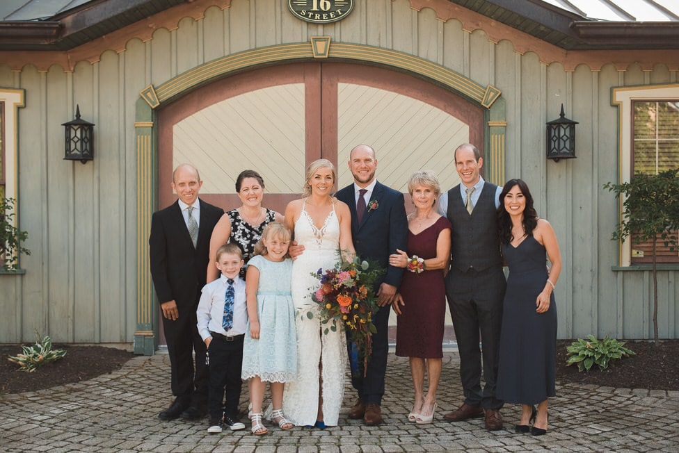 family photos against a decorative garage door