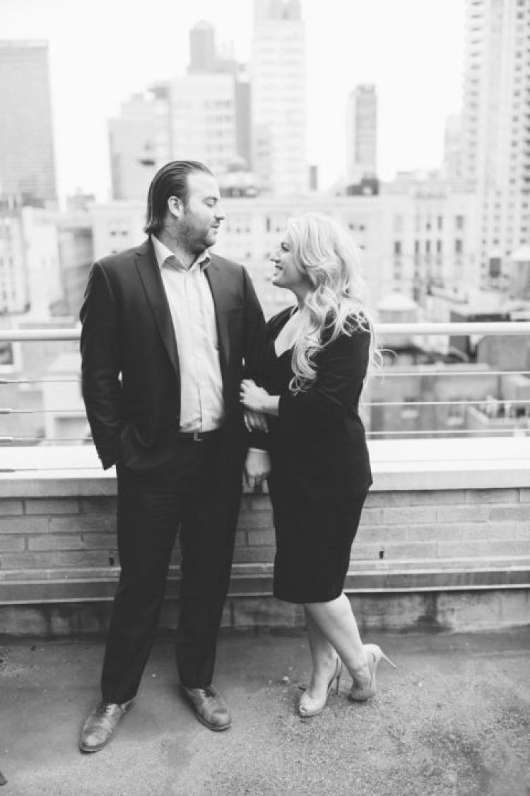 NYC rooftop engagement session captured by NYC wedding photographer Ben Lau.
