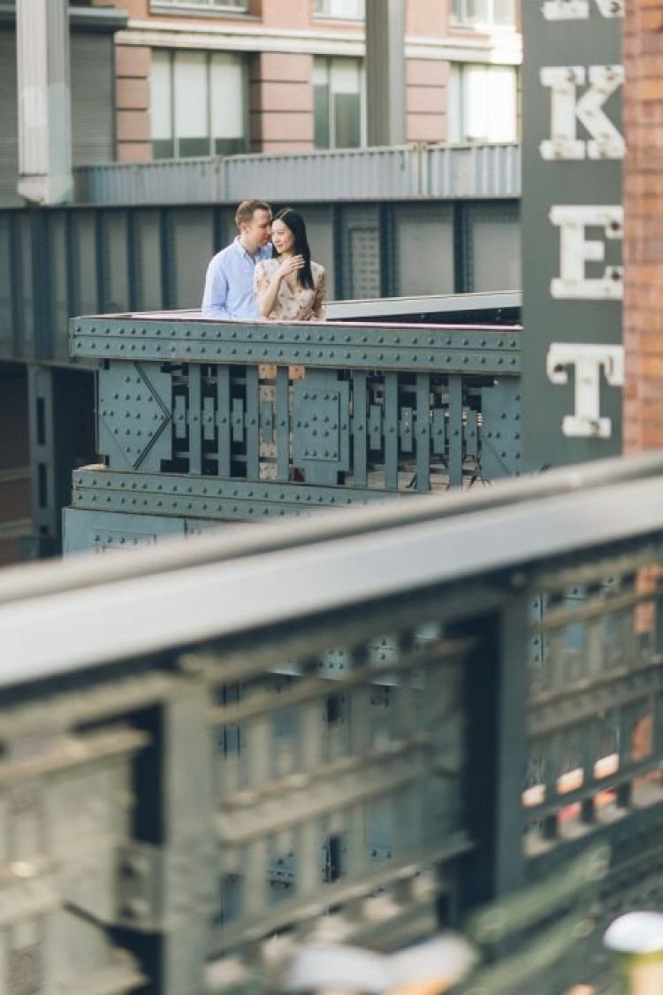 High Line Park engagement session in NYC, captured by NYC wedding photographer Ben Lau.