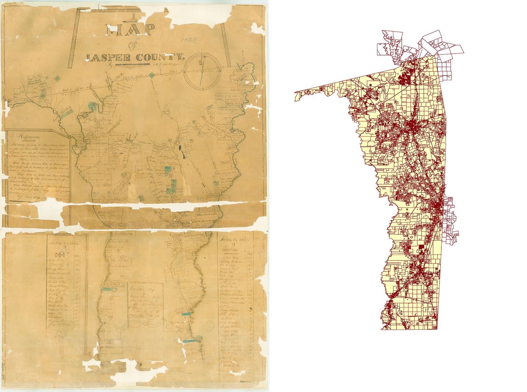 Jasper County Map 1839 & 2013