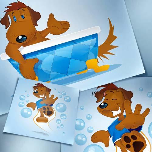 Ilustração cachorro tomando banho