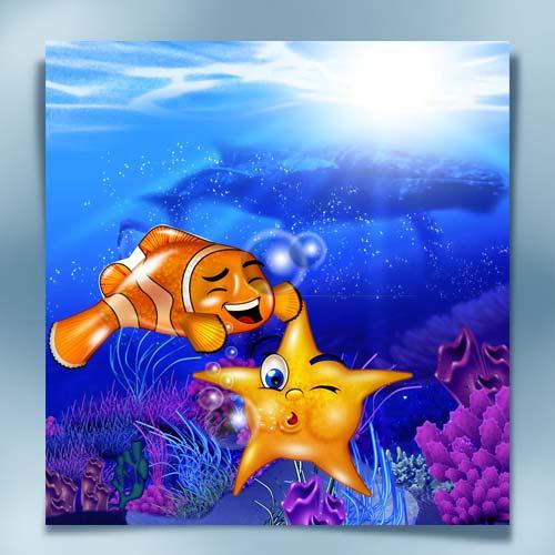 Desenho do fundo do mar com temas infantis