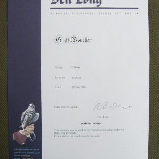 gift voucher of Ben Long Falconry