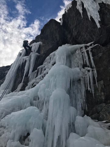 A gargoyle threesome at Lincoln Falls early in the season.