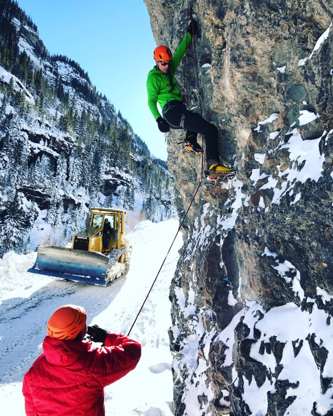 Jeff D having some M7 fun on the AMGA Ice Instructor Course
