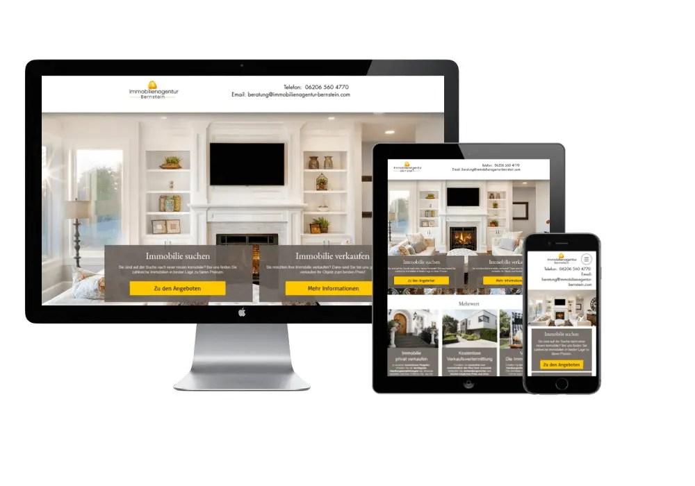 Die Webseite von Immobilienagentur Bernstein