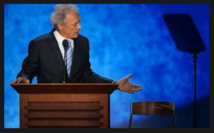Actor Clint Eastwood addressing audience, empty chair at 2012 GOP Convention