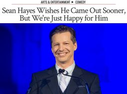 Sean Hayes accepts the Outfest Trailblazer Award