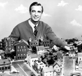 Mr. Rogers shows viewers around the neighborhood